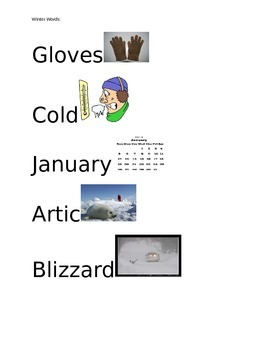 Winter Words for pre-k classroom with pictures