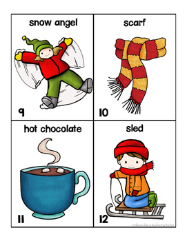 Winter Words for writing center and write-the-room