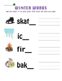 Winter Words with Silent (magic) e & long vowels