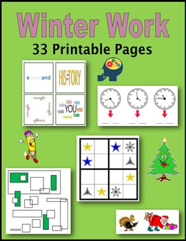 Winter Work (Sponge Activities, Early Finishers, Extra Credit)