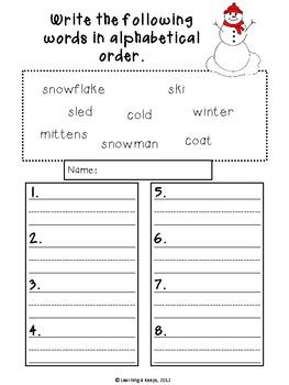 Winter Worksheet Freebie!