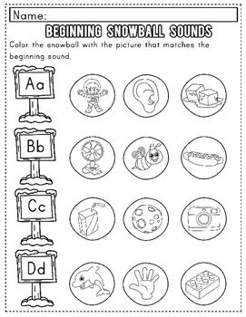 Winter Worksheet Sampler: Beginning Sounds for Preschool and Kindergarten/FREE!