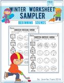 Winter Worksheet Sampler: Beginning Sounds for Preschool a