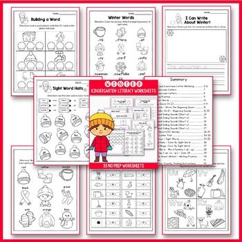 Winter Activities For Kindergarten (Literacy No Prep)