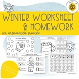 Winter Worksheets & HW Packet for Speech Therapy