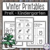 Winter Worksheets and Printables for PreK and Kindergarten