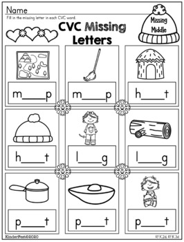 Winter Worksheets for Kindergarten - ELA and Math - Common Core Aligned