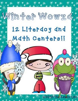 Winter Literacy and Math Centers Word Families Vowels CVC Addition