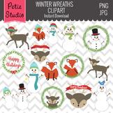 Winter Wreath Clipart // Woodland Christmas // Snowman Clipart - Winter100