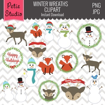 Winter Wreath Clipart // Woodland Christmas // Snowman Clipart - Winter100