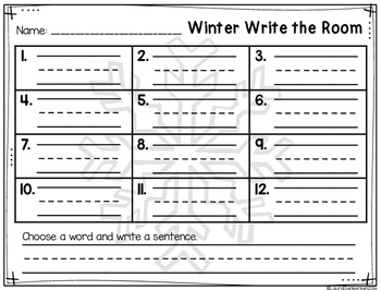 Winter Write The Room Vocabulary