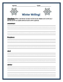 Winter- Write a sentence for each vocab word