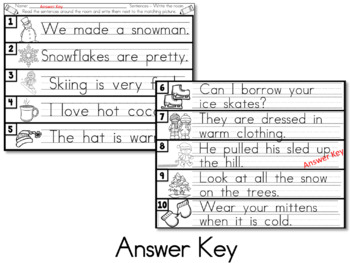 Winter Write the Room Activity - Sentence Reading