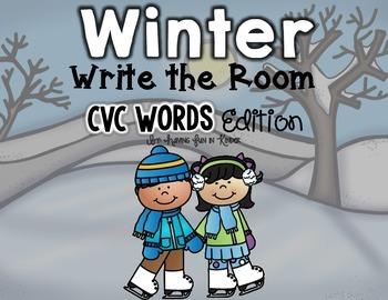 Winter Write the Room - CVC Words Edition