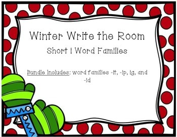 Winter Write the Room - Short i Word Families