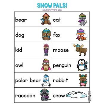 Winter Write the Room: Snow Pals
