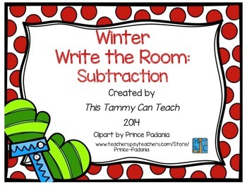 Winter Write the Room: Subtraction