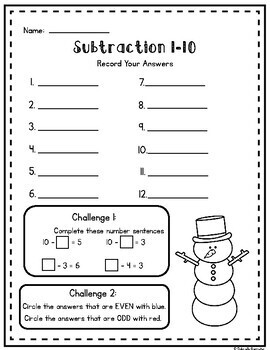 Winter Write the Room - Subtraction