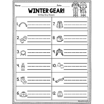 Winter Write the Room: Winter Clothing
