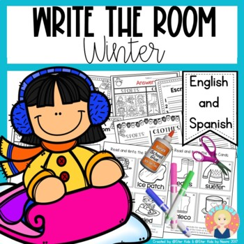Winter Write the Room in English and Spanish for K-1