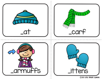 Winter Write the Room (plus beginning sound and missing vowel cards)