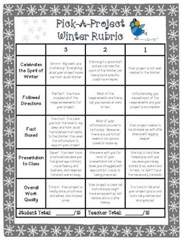 Winter Choice Board Writing Activities, Rubric, &  Templates