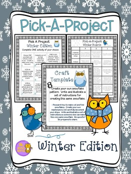 Winter Choice Board Writing Activities, Rubric, &  Templates