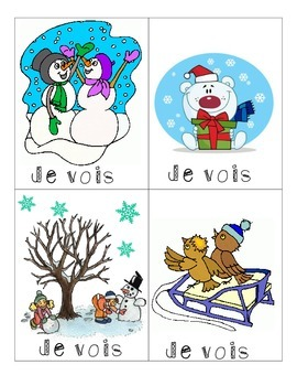 """Winter Writing Center using """"Je vois"""" """"Il y a"""" - French Immersion"""