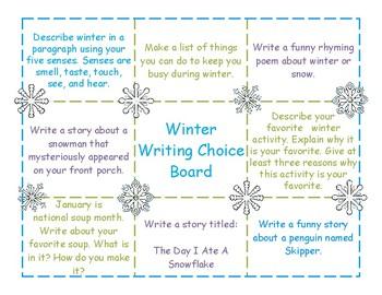 Winter Writing Choice Board