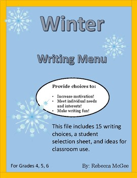 Winter Writing Choice Menu