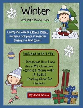 Winter Writing Choice Menu: ELA Holiday Literacy Station CCSS