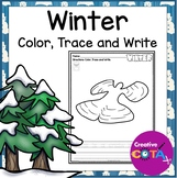 Winter Writing Coloring with Trace and Write Sentence Worksheets