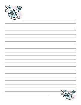 Winter Writing Lined Paper