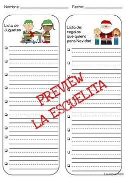Winter Writing Lists-Spanish