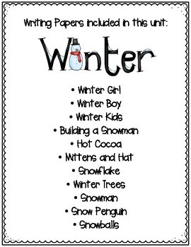 Winter Writing Paper Bundle