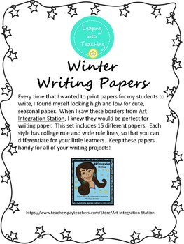 Winter Writing Paper - College and Wide Rule