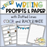 Winter Writing Prompts and Writing Paper - Dotted Lines