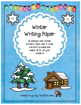 Winter Stationery- Lined Writing Paper with Fun Borders to Color!