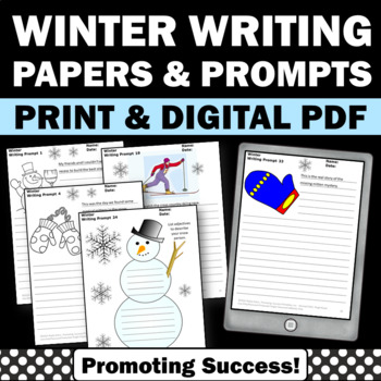 Lined Winter Writing Papers with Pictures