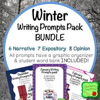 Writing Prompts 2nd Grade : Winter BUNDLE