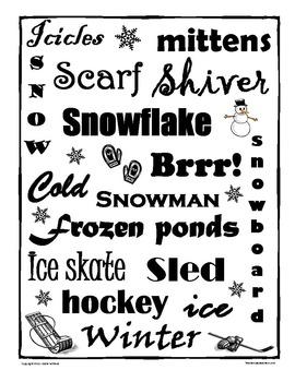 Winter Writing Prompt / Subway Art Idea