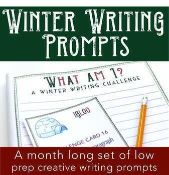 Winter Writing Prompts - 3 Sets of 28 Cards - Interactive QR Code Set Included!