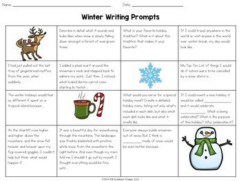 Winter Writing Prompts Choice Board for Middle School