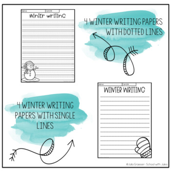Winter Writing Prompts and Papers (real photos)