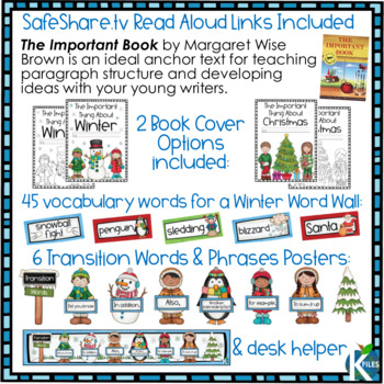 Winter Writing Prompts and Winter Word Wall for your Writing Center