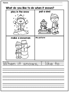 Winter Writing Prompts for Kindergarten and First Grade by ...