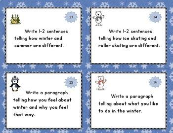 Winter Writing Task Cards Grades 1-2