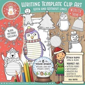 Winter Writing Template Clip Art