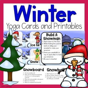 winter yoga cards and printablespink oatmeal movement