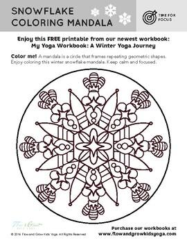 Winter Yoga Mandala Coloring Page